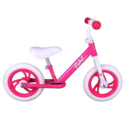 JOYSTAR 12 Inch Balance Bike for Girls 2 3 4 5 Years Old, Toddler Push Bike with Footboard & Handlebar Protect Pad, Child Glider Cycle, Kids Slider, Blue