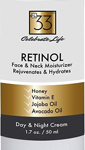 Retinol Moisturizer Face and Neck Cream To Visibly Rejuvenate and Reduce Wrinkles. Use Day and Night to Hydrate and Firm Facial Skin w/Vitamins and Essential Oils. Anti-Aging 1.7 oz. by No.33 ()
