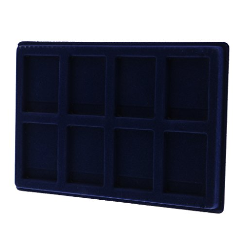 - Dolity 8 Grid Velvet Frame Coins/Jewelry Display Storage Tray for Identification Display Box -Blue