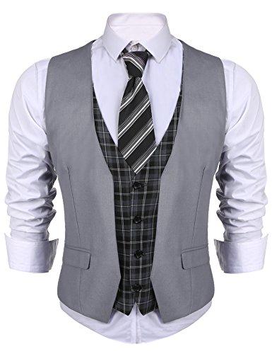 JINIDU Mens Business Suit Vest V Neck Skinny Layered Plaid Dress Wedding Waistcoat Vests Grey ()