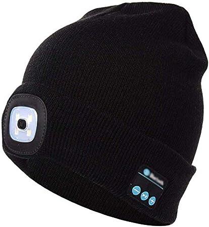 Unisexe DEL Bonnet Avec Rechargeable USB Battery Powered Lampe Noir