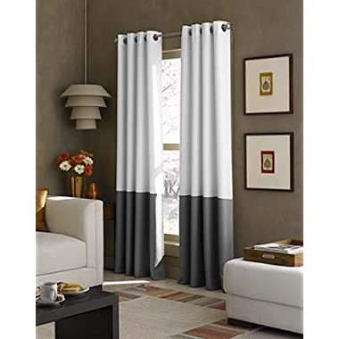 Curtainworks Kendall Color Block Grommet Curtain Panel, 84 inch, White
