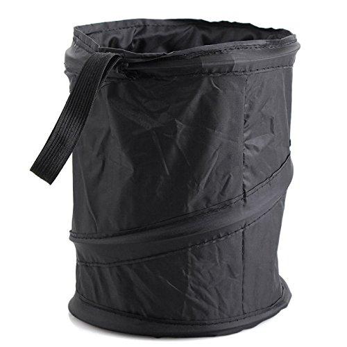 TOOGOO Mini Pop Up Car Bin Black Storage Rubbish Dustbin Foldable Travel Waste Basket ()