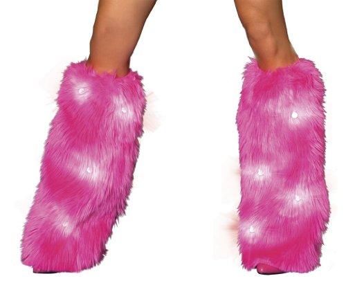 J Valentine Women's Light-UP Legwarmers One Size Pink (Pink Fluffies Leg Warmers)