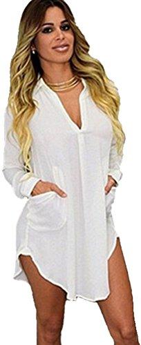 Lunga Elegante Vestito Camicetta Bianco Blusa Camicia Donna Maglia Chiffon wCqSF1z