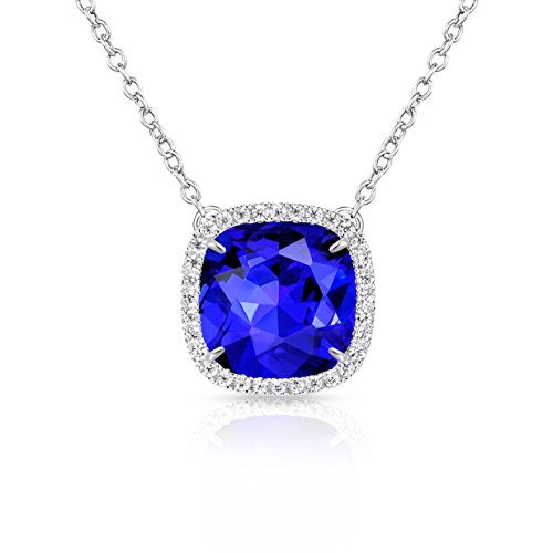 (Alantyer Birthstone Necklace Made with Square Swarovski Crystal for Women and Girls,Sapphire (September Birthstone))