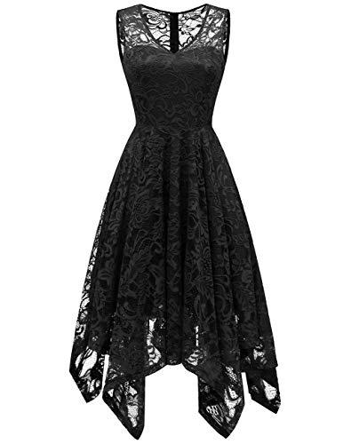 Meetjen Women's Elegant Floral Lace Sleeveless Handkerchief Hem Asymmetrical Cocktail Party Swing Dress Black XS ()