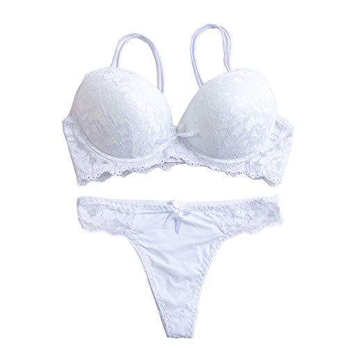 Women's Lace Bra Set Sexy Lingerie Bra and Panties Push Up Underwire Bra (White, - Womens Panty Up Push