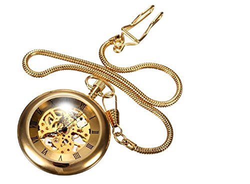 Luxury Retro Gold Necklace Mechanical Analog Pocket Watch by STCorps7 from STCorps7