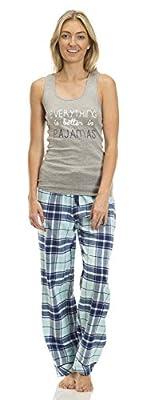 Rampage Womens Yarn Dye Cotton Flannel Drawstring Pant and Matching Tank Pajama Set