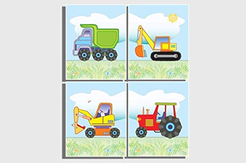 Kids Wall Art Boy's Nursery Room Decor Set of 4 UNFRAMED Prints Pictures Transport Construction Farm Vehicles Red Tractor Dump Truck Digger Bulldozer Excavator Blue Orange Yellow Green 8 x 10 inches