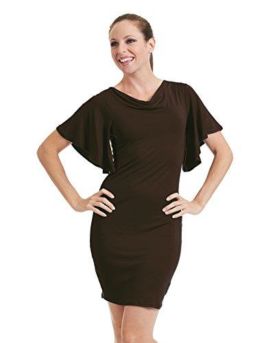 Venir Ensemble Californie Manches Ctc Femmes Col Cagoule Courte Flutter Robe - Made In Usa Wdr1256_brown