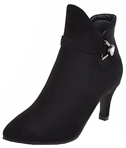 Easemax Reißverschluss schwarz Zehe Heels mit kurze Damen Elegant Stiefeletten seitlichem Stiletto spitze Mitte fn7fqrwP