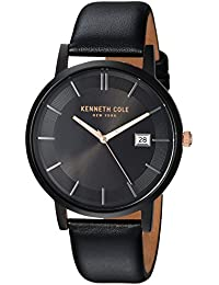 Men's Quartz Stainless Steel and Leather Casual Watch, Color Black (Model: KC15202004)