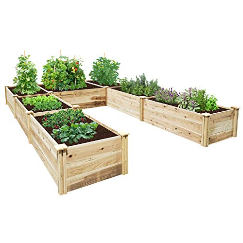 Greenes Fence Premium Cedar Raised Garden Bed 8 ft. x 12 ft. x 16.5 in. U-Shaped Bed