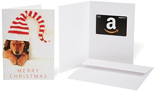 Amazon.com $25 Gift Card in a Greeting Card (Christmas Puppy Design) (Personalized Cards Christmas Family)