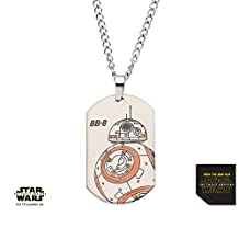 "Disney Star Wars Men's BB8 Laser Etched Dog Tag Pendant with Chain Length 22"" Gift Box Included"