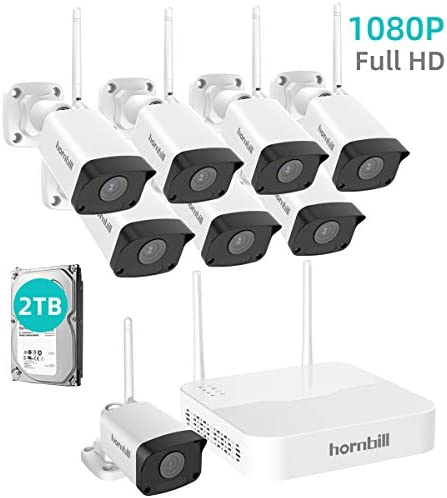 Security Camera System Wireless, Hornbill 8CH NVR Wireless Camera System 2TB Hard Drive , 8 Indoor Outdoor IP Security Cameras Withstand Waterproof 100ft Night Vision, Free P2P Remote Acc