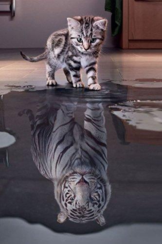 White Tiger Kitty XL 5D Paint With Diamonds Full Kit with Free Premium Diamond Pen - 60x40cm Full Canvas Square Drill DIY Diamond Painting Kit Plus Full Toolkit