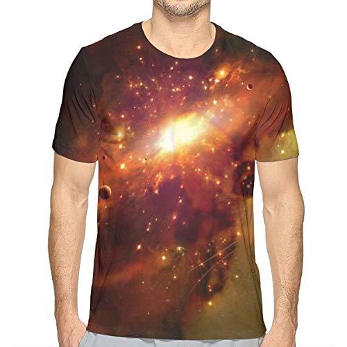 (Kitten Cat Galaxy Nebula Space Star Universe Zen T-Shirts for Men, Standard-Fit Short Sleeve Jersey Shirt Sweatproof Summer Hip Hop Tops for Surf Game Workout - Big and Tall Size)