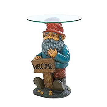 Home Locomotion Garden Gnome Glass Accent Table
