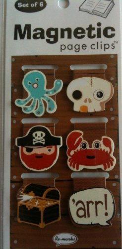 Bookmarks Pirate (Pirate Mini Photo Magnetic Page Clips Set of 6 by Re-marks)