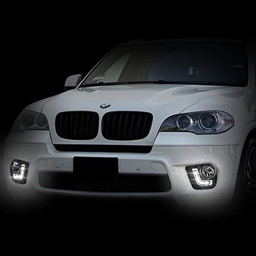 FOR 11-13 BMW X5 E70 NON M-SPORT BUMPER FOG GRILL LED DRL DAY TIME RUNNING LIGHT