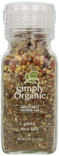Simply Organic Grind To A Salt Certified Organic, 4.76 Ounce Container (Pack of 6)