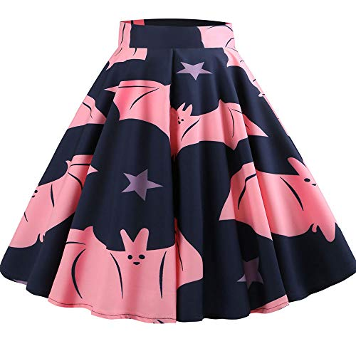 GOVOW Halloween Party Skirt for Women Sexy Casual Retro Printing Evening Swing Skirts(M,Z-Navy ) -