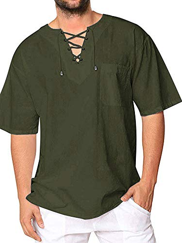 Mens Cotton T Shirt Casual Short Sleeve Beach Hippie Yoga Tees Plain Drawstring Lace-up Summer Tops