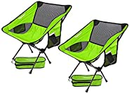 FBSPORT 2 Pack Ultralight Floding Camping Chair,Compact and Heavy Duty Outdoors Portable Backpacking Chairs,fo