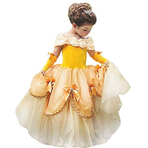 TYHTYM Belle Costumes Dress Up Party Girls Princess Cosplay Halloween Kids Ball Gown 2-13Years Gold ()