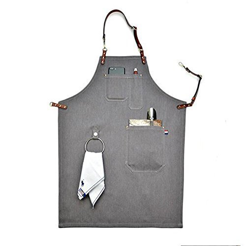 Heavy Duty Gray Canvas Work Apron,Barber Apron,Adjustable Dermal Cortical Band Tool Apron for Men & Women with Pocket and Hanging Ring (33.5 by 24.5inch)
