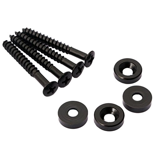 Guitar Neck Ferrules - Timiy 4Pcs Electric Guitar Bass Replacement Parts Guitar Body Neck Fixed Mounting Screws Ferrules Bushings Bolts(Black)