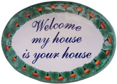 Fine Crafts Imports Peacock Talavera Ceramic House Plaque. Welcome My House is Your - Talavera Peacock