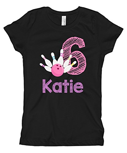Blu Magnolia Co Girls Bowling Birthday Shirt Any Age | Personalized with Any Name (Black, 7/8)