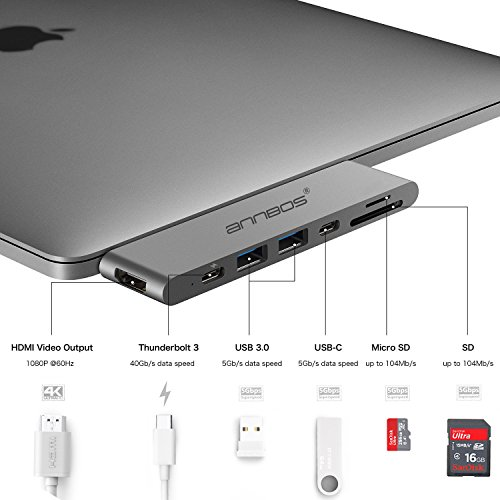 USB-C Hub AnnBos 7-in-1 Type C Hub with HDMI Port, USBC Charging Port, 2 USB 3.0 and 1 USB 2.0 Ports, SD/TF Card Reader, for MacBook Pro and More Type-C Devices (Grey)