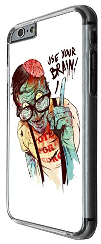 1115 - Cool fun zombie walking dead death brains quote use your brain illustration art nerd zombie Design For iphone 6 Plus / iphone 6 Plus S 5.5'' Fashion Trend CASE Back COVER Plastic&Thin Metal -Cl