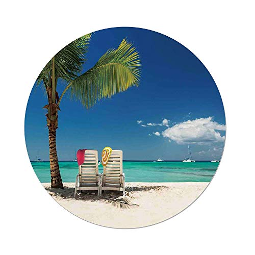 Polyester Round Tablecloth,Seaside Decor,Relaxing Scene on Remote Beach with Palm Tree Chairs And Boats Panoramic Picture,Blue Green,Dining Room Kitchen Picnic Table Cloth Cover,for Outdoor Indoor