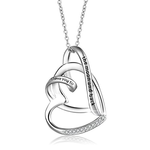 JUFU 925 Sterling Silver Heart Pendant Necklace Engraved'I Love You To The Moon And Back' (Heart A)