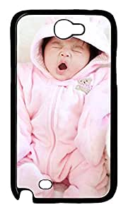 Samsung Galaxy Note II N7100 Cases & Covers - Baby Yawning Custom PC Soft Case Cover Protector for Samsung Galaxy Note II N7100 - Black