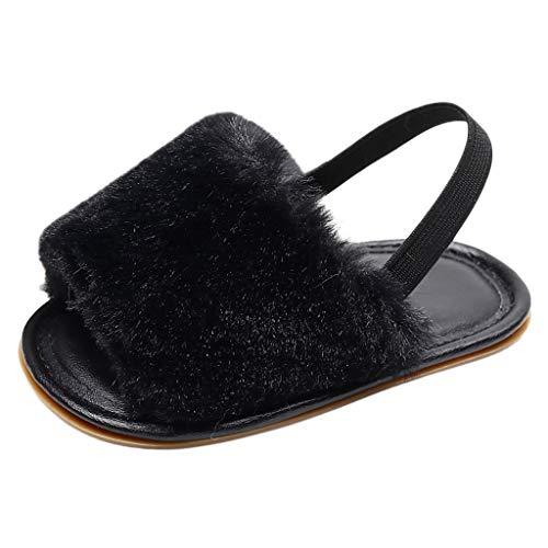 Vielgluck_Sandal 2019 Summer Deal! Sandals for Babys Todder Boy Girls Fluffy Sequins Open Toe Flat Platform Summer Casual Indoors Shoes Slippers