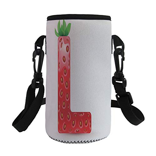 Small Water Bottle Sleeve Neoprene Bottle Cover,Letter L,Juicy Ripe Strawberry in Shape of Letter L Boys Girls Kids Design,Vermilion Green Orange,Great for Stainless Steel and Plastic/Glass Bottles, (Juicy Drink Glasses)