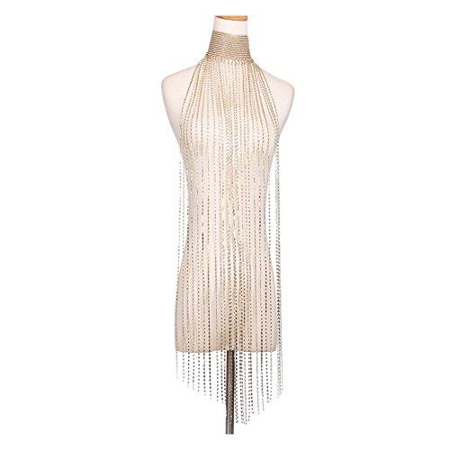 MineSign Diamond Choker Necklace Long Tassels Choker Wide Chain Necklace Fashion Jewelry Gold