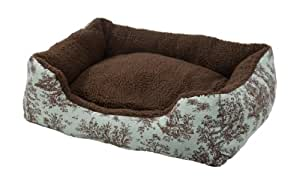 AlphaPooch Cuddler Rectangular Bolster Dog Bed, Celery Toile Fabric with Coco Fleece, Large