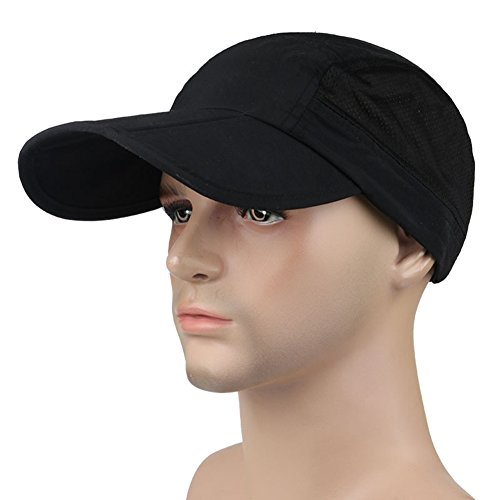 MerryJuly Outdoor Quick Dry Baseball Cap Foldable UPF 50+ with Long Bill Portable Sun Hats for Men and Women (Black) Bill Adjustable Baseball Hat