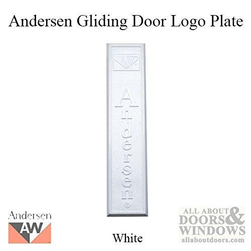 Andersen Window - Gliding Screen Door Logo Plate w/ Screws, Plastic - White