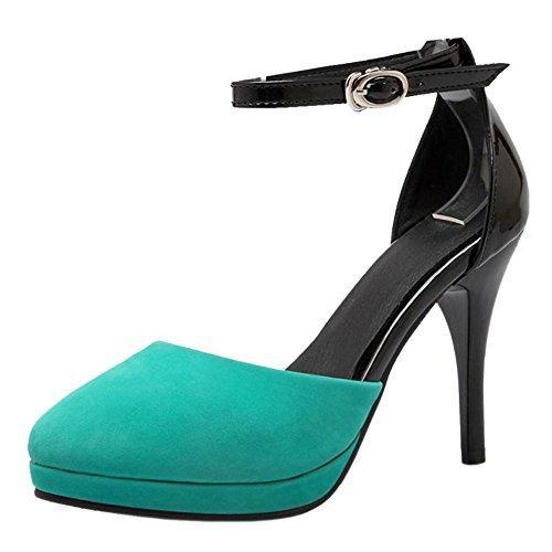 COOLCEPT Damen Mode Party Shoes Schnalle Pumps Blue