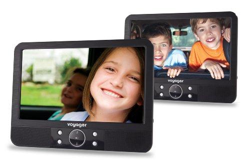 Voyager Tragbarer DVD-Player (22,8 cm (9 Zoll) LCD-Display) mit 2 Playern inkl. Auto-Halterungen und Zubehör schwarz