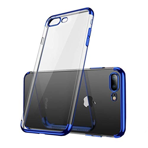 - iPhone 7.8plus Case,Electroplated Frame Clear Cell Phone Case,Ultra Slim TPU Gel Case for iPhone 7.8plus(Blue)